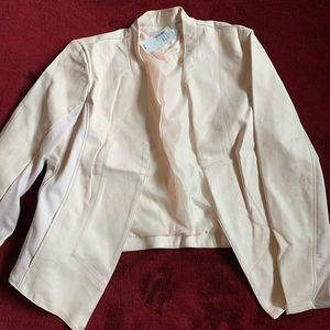 Light pink faux leather blazer